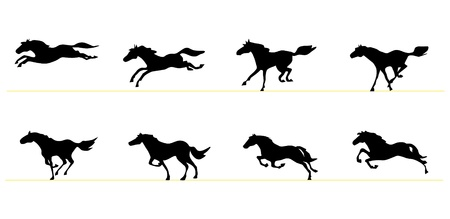 animation: Running horse silhouettes
