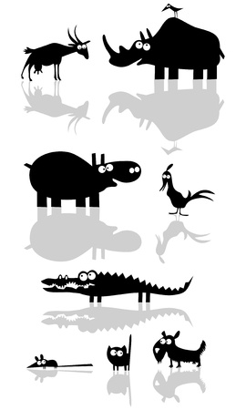 funny animals: Funny Vector Animal Silhouettes  Illustration