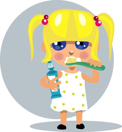 wash hand stand: Little girl brushing her teeth Illustration