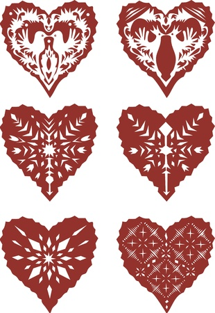 Set of paper cut hearts Vector
