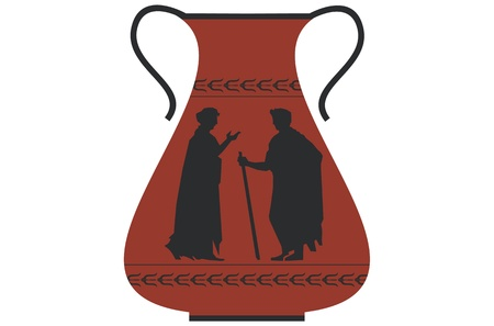 greek pot: Antico vaso greco Vettoriali