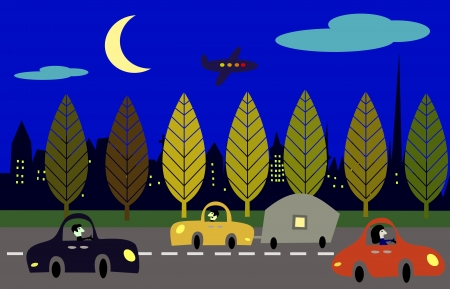 City scene with cars at night  Vector
