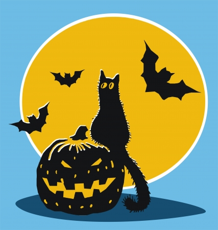 Halloween pumpkin, black cat,bats and moon  Vector