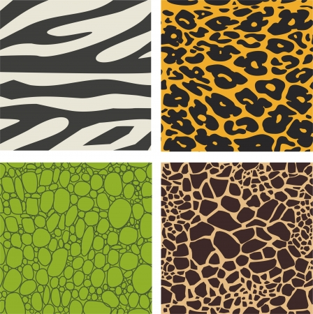 Set of 4 animal skin patterns - zebra, leopard ,crocodile and giraffe  Illustration