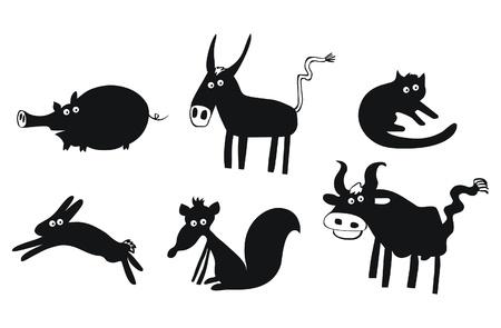 wild donkey: Set of funny animals