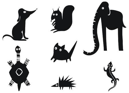Set van grappige dieren Vector Illustratie