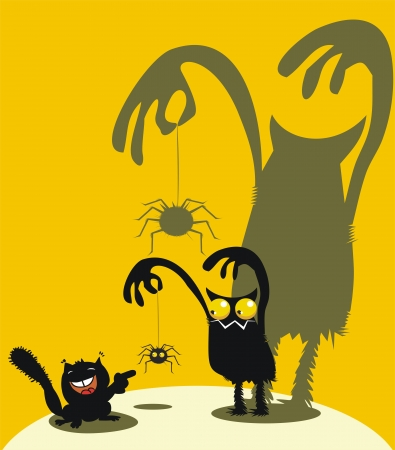 Monster, spider and laughing squirrel