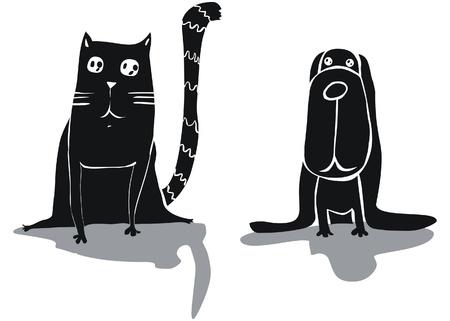 silueta de gato: Divertido gato y perro Vectores