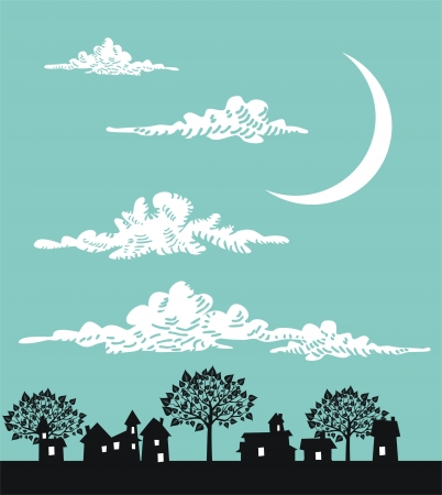 new homes: Night town Illustration