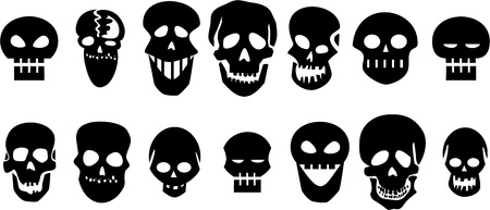 skeleton skull: Set of black skulls