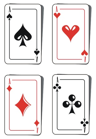 jack of diamonds: Four aces playing cards Illustration