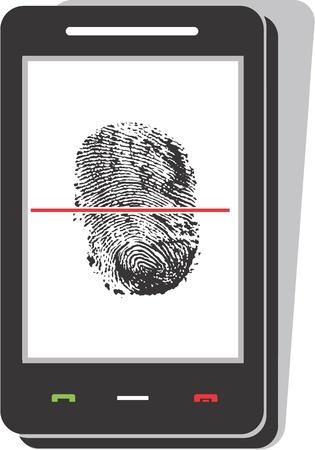 Mobile phone scanning a fingerprint
