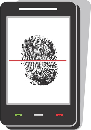 Mobile phone scanning a fingerprint  Vector