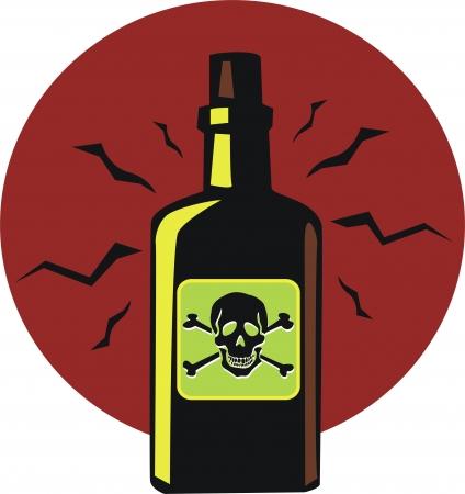 Vintage bottle of poison  Vector