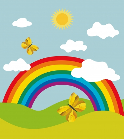 rainbow sky: Landscape with rainbow and butterflies