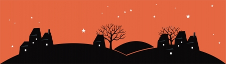 Village night silhouette Stock Vector - 16479621