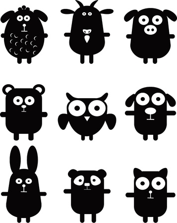 owl cartoon: Set of funny black animals