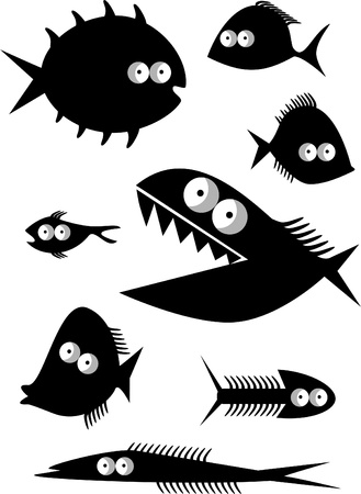 barracuda: Set of funny fishes