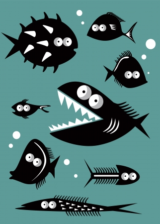 Set of funny fishes Vector