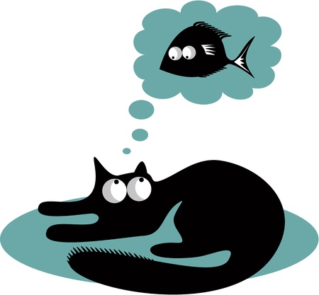 Black cat and fish Stock Vector - 17684895