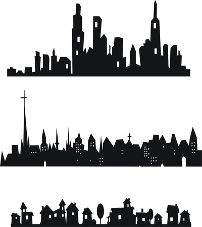Set of cities silhouette Stock Vector - 17684955