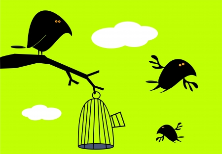 Funny birds and empty cage Stock Vector - 17685274