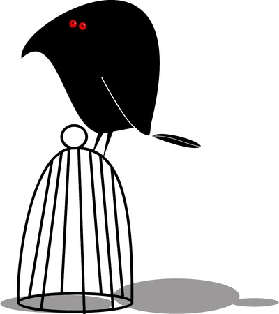 Funny bird and cage Vector