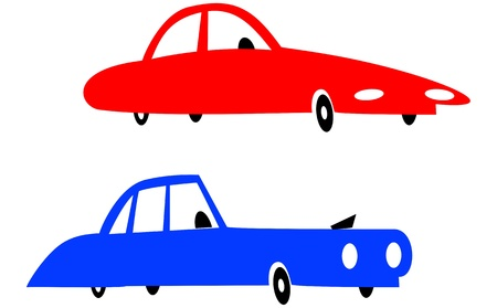 Red and blue cars Vector
