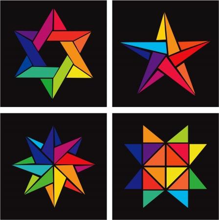 etoile juive: Jeu de vecteur Rainbow Stars Origami Illustration