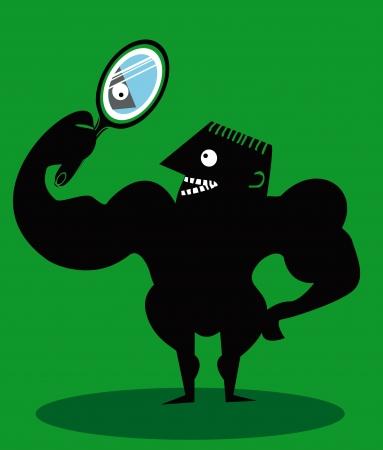 재미있는 만화 남자 거울에 자신을 찾고