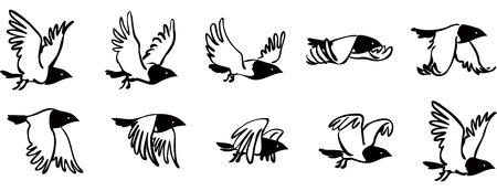 Flying Bird secuencia Ilustración de vector