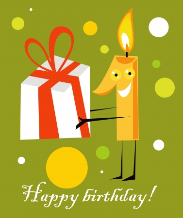Birthday card with candle, first Birthday Stock Vector - 17971702