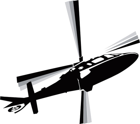 airborne vehicle: Helicopter in the sky  Illustration