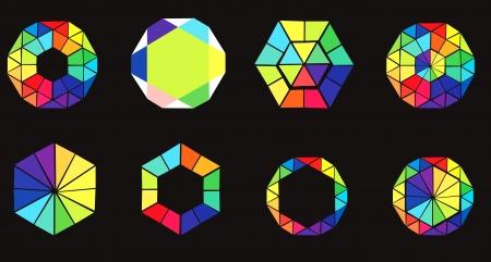 pietre preziose: Set di esagoni colorati