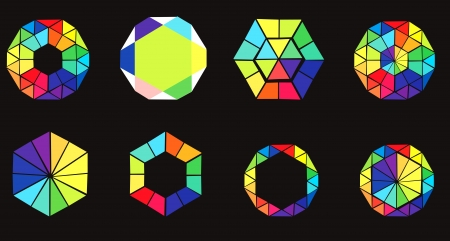 color wheel: Set of colored hexagons