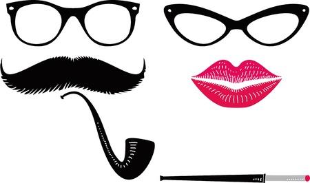 funny glasses: Vintage fashion set