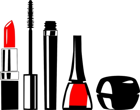 様々 な化粧品  イラスト・ベクター素材