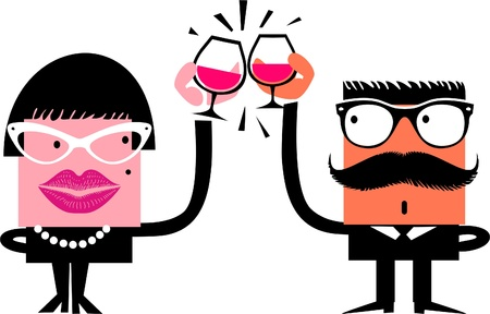 Cartoon characters celebrate drinking wine Vector