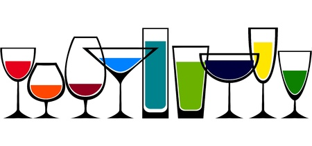 飲むグラスのセット  イラスト・ベクター素材