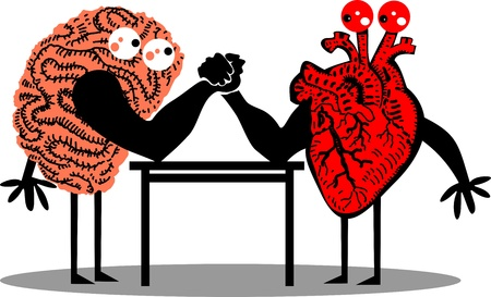 Brain and Heart doing arm wrestling