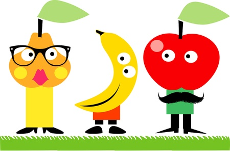Funny fruit family  Vector