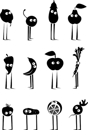 Funny fruits and vegetables Vector