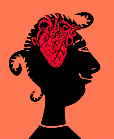 Woman with heart inside head Vector