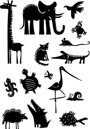 silhouettes elephants: Conjunto de animales divertidos Vectores