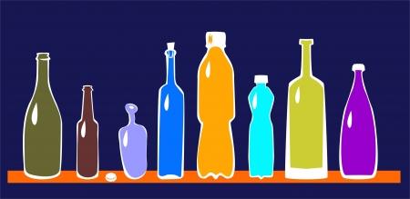 soft drinks: Vector set of bottles Illustration