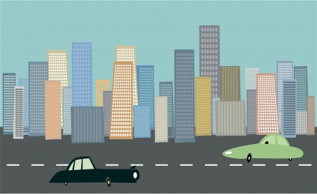 urbanization: Cityscape background with cars Illustration