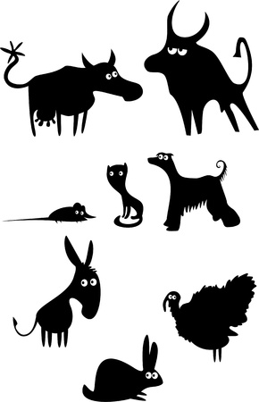 Set of funny domestic animals  Vector