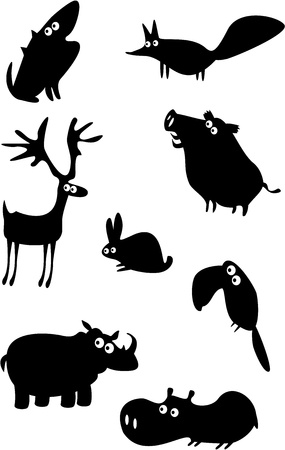 jabali: Conjunto de animales divertidos Vectores