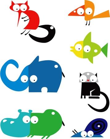 hippopotamus: Conjunto de animales divertidos Vectores