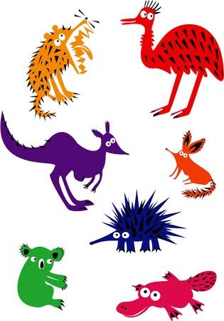 australian animal: Conjunto de divertidos animales australianos Vectores